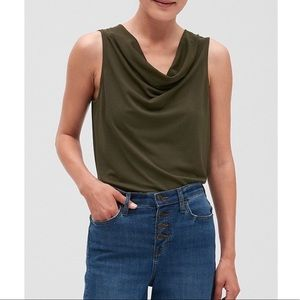 Charcoal Banana Republic Sleeveless Cowl Neck Top